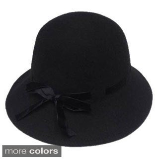Swan Hat Women's Velvet Ribbon Band Cloche Hat