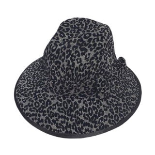 Swan Women's Black/ Silver Animal Print Velvet Covered Hat with Self Trim