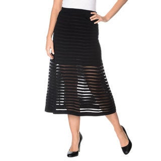 Grace Elements Women's Solid/ Mesh Stripe Mid-Length Stretch Skirt