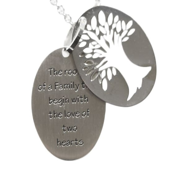 Family Tree Two-piece Stainless Steel Necklace