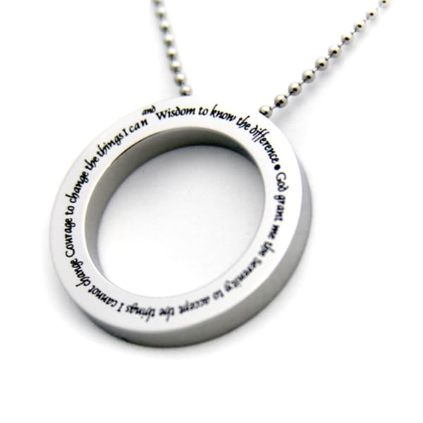 Serenity Prayer Disc Stainless Steel Necklace