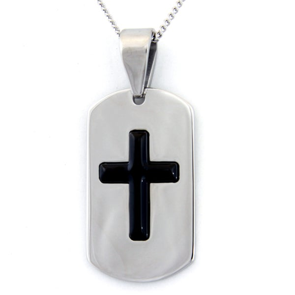 Black Enamel Cross Dog Tag Stainless Steel Necklace