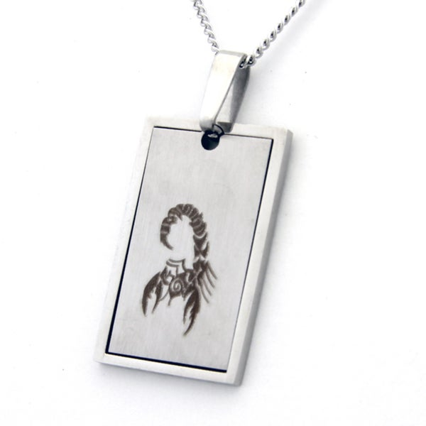 Two-part Scorpion Design Dog Tag Necklace