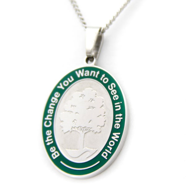 Tree of Life Green Border Necklace