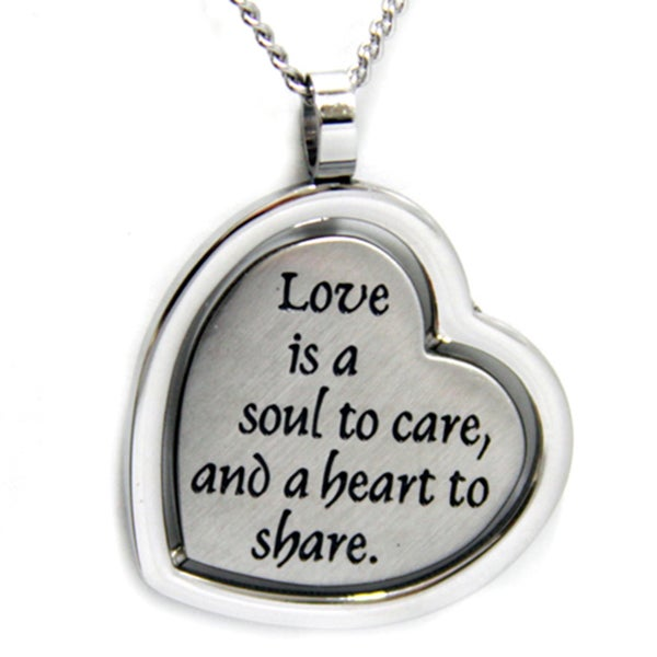 Love is a Soul To Care Reversible Heart Necklace