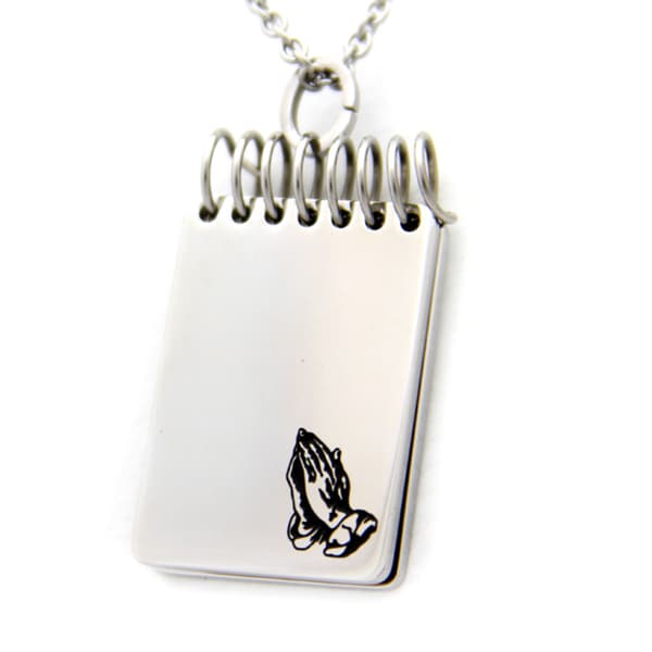 Serenity Prayer Hands Stainless Steel Necklace