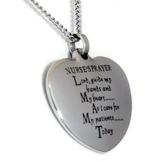 Nurse's Prayer Heart Stainless Steel Necklace