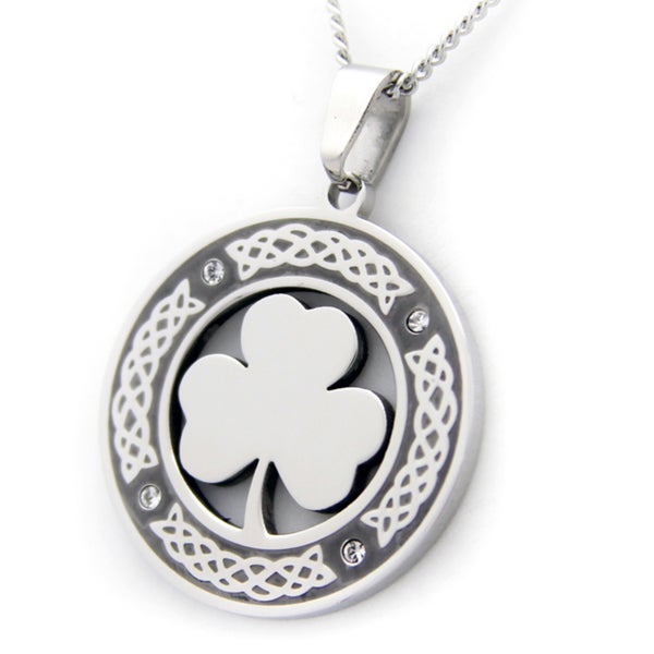 Celtic Circle and Clover Stainless Steel Necklace 14342912