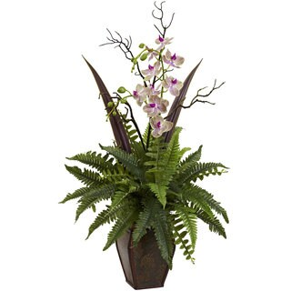Nearly Natural Fern and Orchid Arrangement