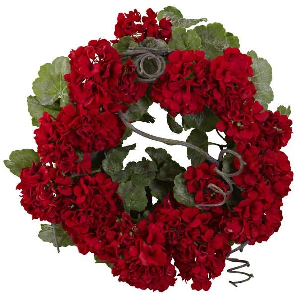 Nearly Natural Geranium Wreath