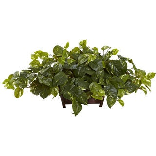 Nearly Natural Pothos with a Rectangle Decorative Planter