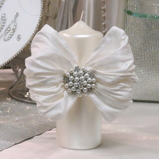 Pillar Candle With Silk Bow and Crystal and Pearl Brooch