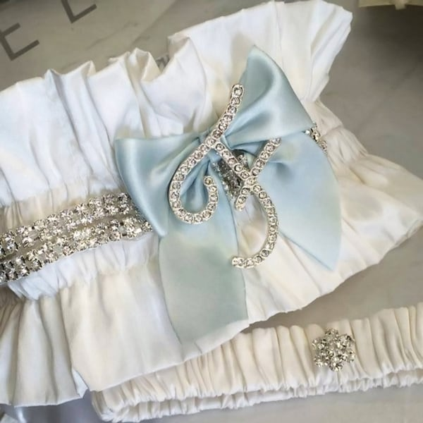 Bridal Garter Set with Silk and Crystal Initial