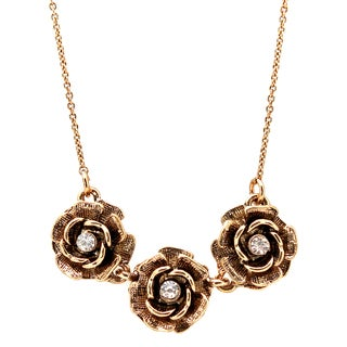 Lolita Jewelry Triple Rose Crystal Center Necklace