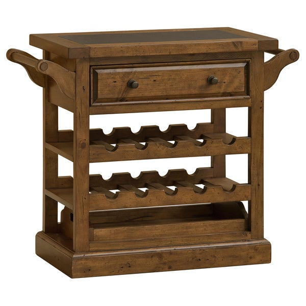 Tuscan Retreat Drink Trolley Cart with Granite Top and Casters