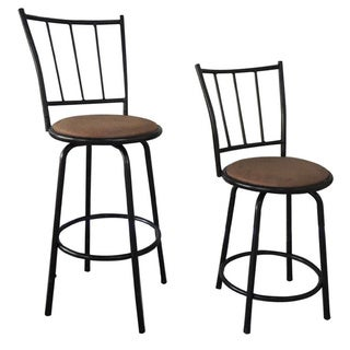 29-inch Black Adjustable Metal Swivel Counterstools (Set of Two)