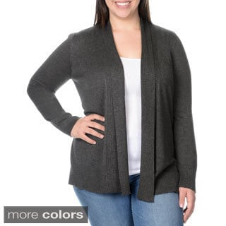 Belldini Women's Plus Size Sib and Jersey Knit Open Cardigan