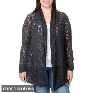 Belldini Women's Plus Mixed Pointelle and Jersey Knit Open Cardigan
