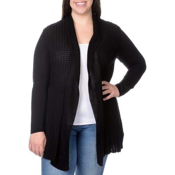 Belldini Women's Plus Mixed Knit Extended Cardigan