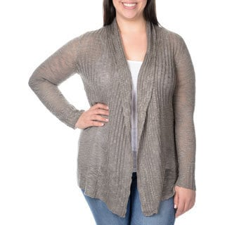 Belldini Women's Plus Pointelle High/Low Cardigan