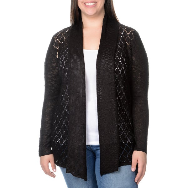 Belldini Women's Plus Diamond Pointelle Knit Open Cardigan
