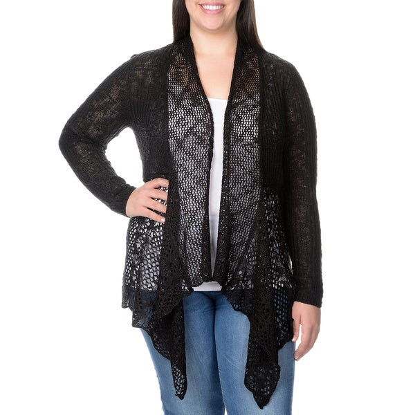 Belldini Women's Plus Textured Rib Knit and Open Knit Bottom Cardigan