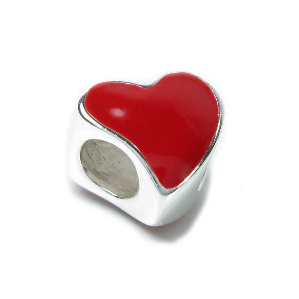 Queenberry Sterling Silver Large Red Enamel Heart European Bead Charm