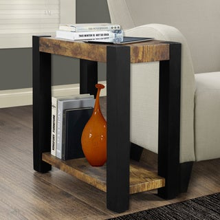 Distressed Reclaimed-Look Black Accent Side Table