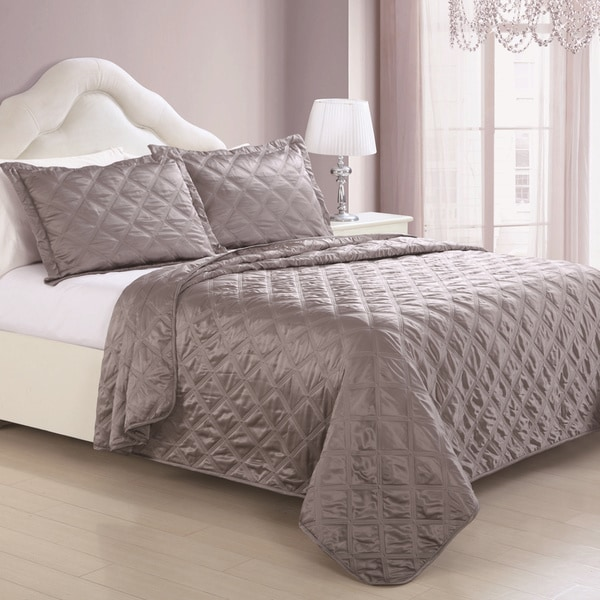 Madison Dark Taupe Satin 3-piece Coverlet Set