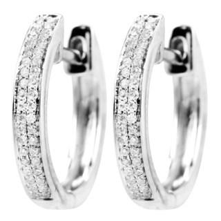 14k White Gold 1/7ct TDW Double Row Hinged Micropave Diamond Hoop Earrings (I-J, I1-I2)