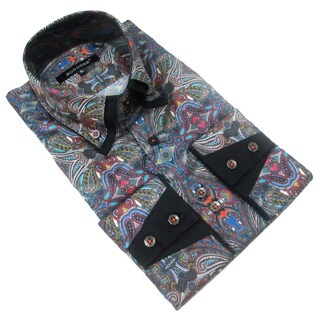 Bogosse Men's Long Sleeve Paisley Print Button Down Shirt
