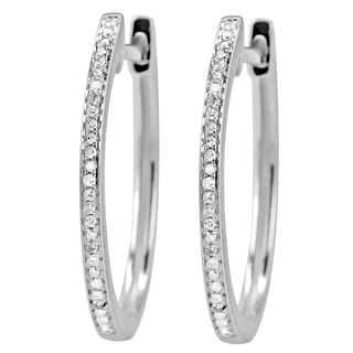 14k White Gold 1/10ct TDW Hinged Micropave Diamond Hoop Earrings (I-J, I1-I2)