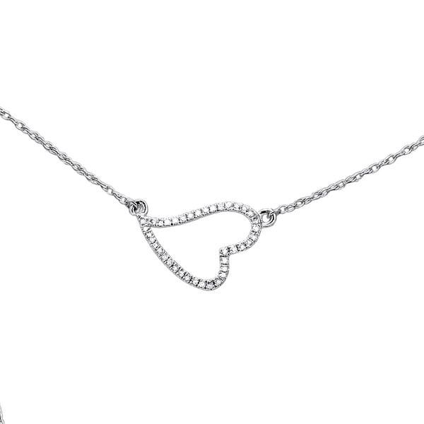 14k White Gold Diamond Accent Heart Pendant Necklace