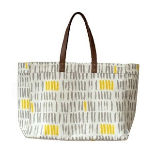 Maika Vertical Strokes Grey Carryall Tote Bag
