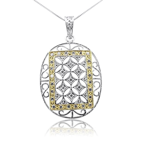 Gioelli Sterling Silver Framed Oval Spring Ring Pendant Necklace