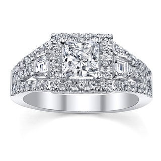 18k White Gold Certified 1 1/6ct TDW Princess Diamond Engagement Ring (H-I, SI3)