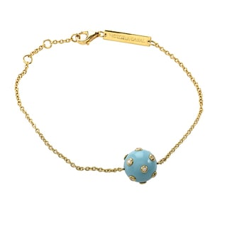 18k Yellow Gold 1/10ct TDW Diamond and Turquoise Ball Bracelet (H-I, SI1-SI2)