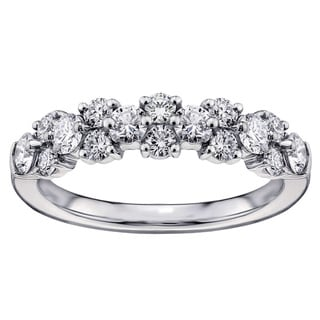 14k White Gold or Platinum 1ct Brilliant-cut Garland Diamond Wedding Band (F-G, SI1-SI2)