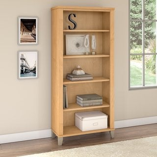 Bush Furniture Somerset 5-Shelf Mocha Cherry Bookcase