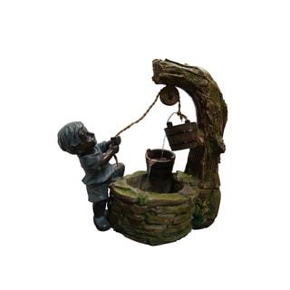 Polyresin Boy Fetching Water Fountain