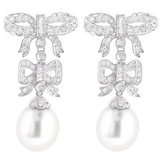Luxurman 18k White Gold 1 1/5ct TDW Diamond and South Sea Pearl Bowtie Earrings (G-H, VS1-VS2) (13 mm)