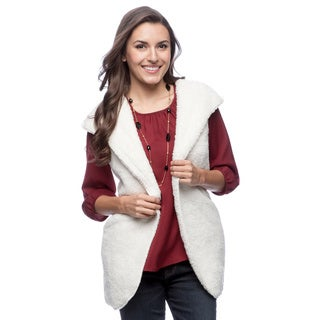 Tabeez Women's Faux Fur Open-hooded Vest