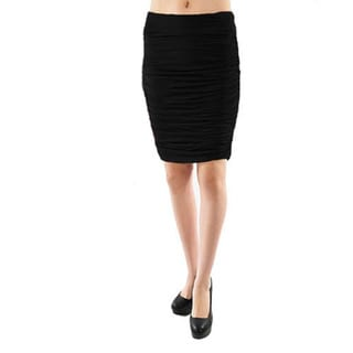 Tabeez Ruched Knee Length Stretch Skirt