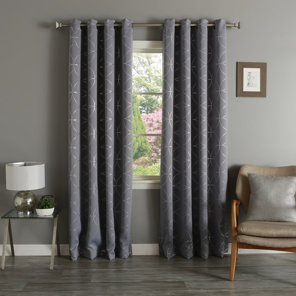Lights Out Linked Circle 84-inch Foil Printed Blackout Curtain Panel Pair
