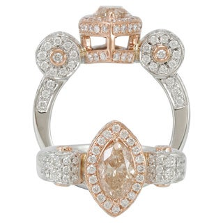 Suzy Levian 18k Gold 2 12/ct TDW Champagne Marquise-cut Diamond Ring (G-H, VS1-VS2)