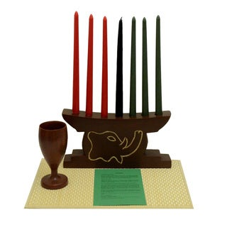 Hand-finished Elephant Kwanzaa Celebration Set (Ghana)