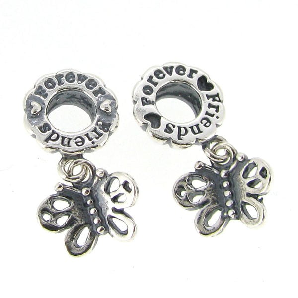 Queenberry Sterling Silver Best Friend Forever European Bead Charm