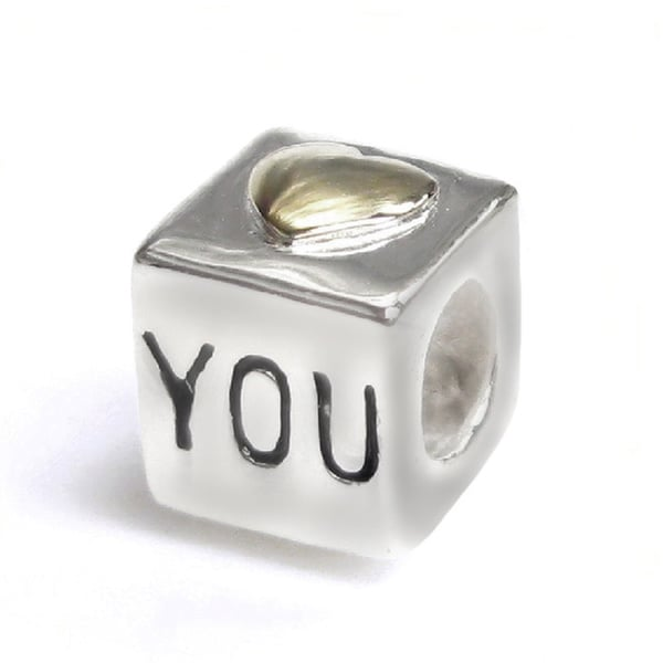 Queenberry Sterling Silver 'Love You' Cube with Goldtone Heart Charm