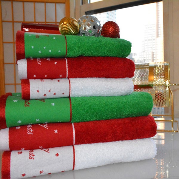 Christmas Reindeer 39 Embroidered Turkish Cotton 2 Or 3 Piece Towel Set. Christmas Bathroom Towels  Use Decorative Hand Towels To Decorate