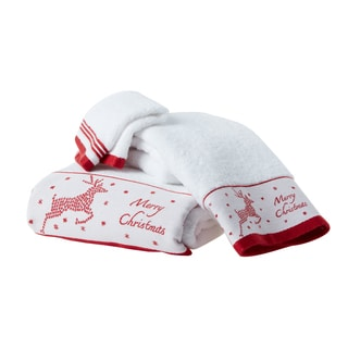 Enchante 'Christmas Reindeer' Embroidered Turkish Cotton 2-piece Towel Set